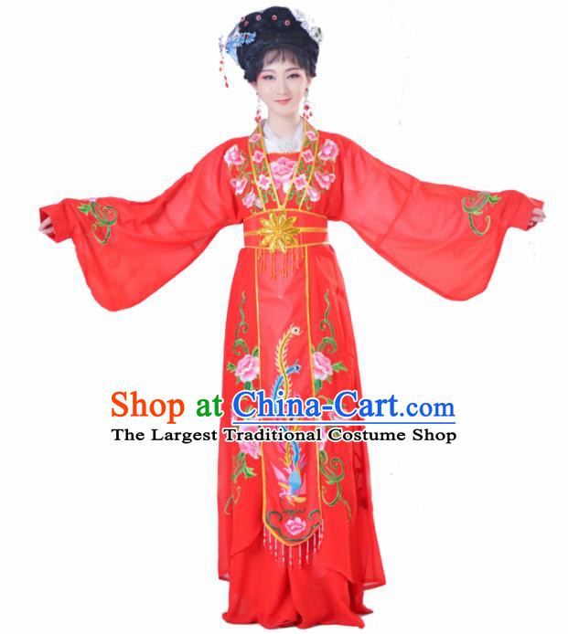 Chinese Traditional Peking Opera Actress Costumes Ancient Nobility Lady Red Dress for Adults