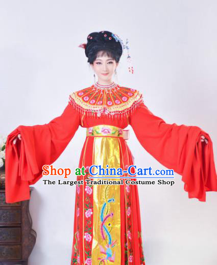 Chinese Traditional Peking Opera Actress Costumes Ancient Imperial Concubine Red Dress for Adults