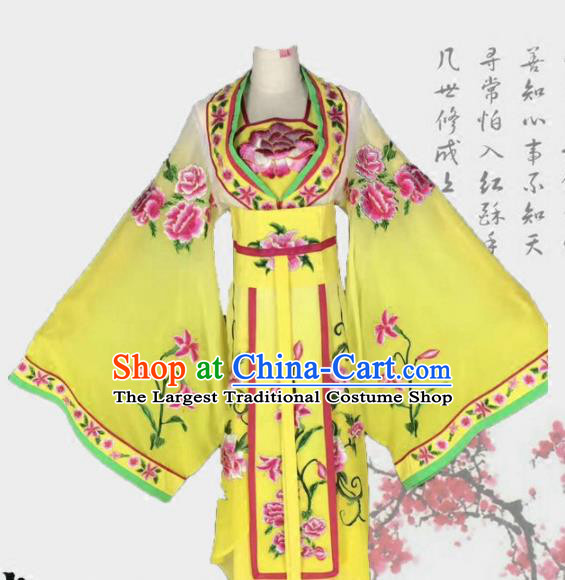 Chinese Traditional Peking Opera Actress Costumes Ancient Palace Princess Yellow Dress for Adults