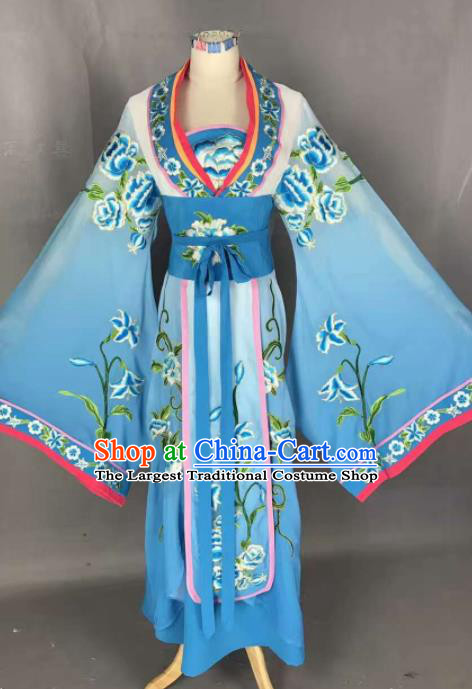 Chinese Traditional Peking Opera Actress Costumes Ancient Palace Princess Blue Dress for Adults