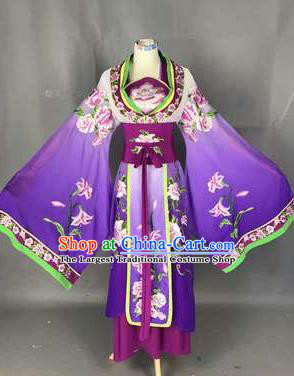 Chinese Traditional Peking Opera Actress Costumes Ancient Palace Princess Purple Dress for Adults