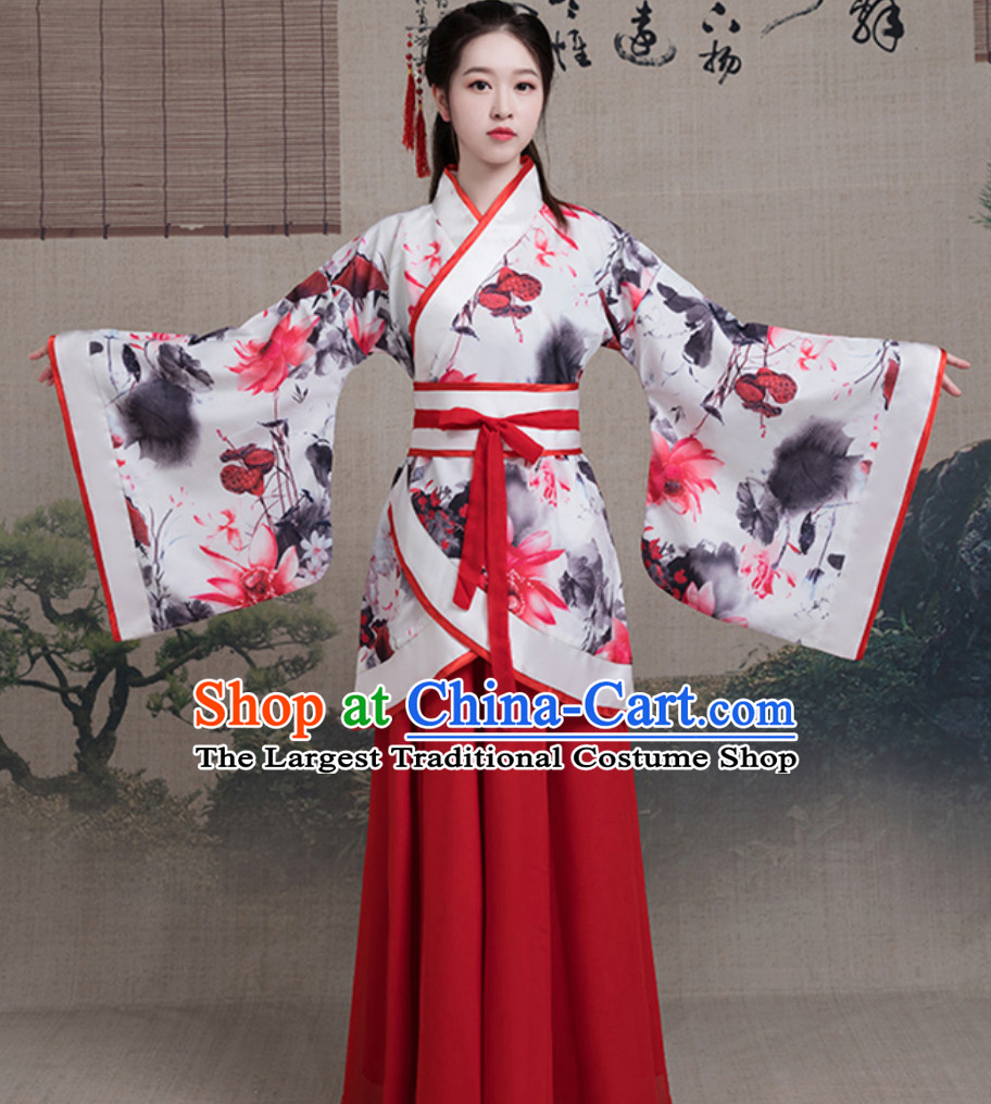 Asian Hand Painted Satin Chiffon Dress