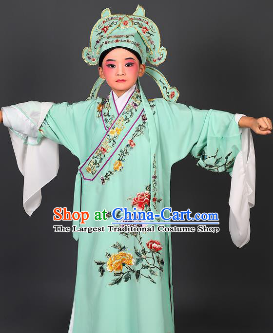 Chinese Traditional Peking Opera Niche Costume Ancient Scholar Green Robe and Hat for Kids