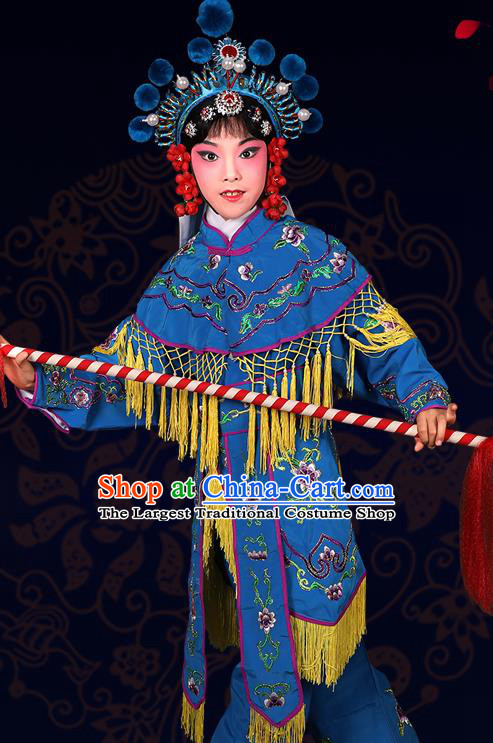 Chinese Traditional Peking Opera Blues Costumes Ancient Female Warriors Blue Clothing for Kids
