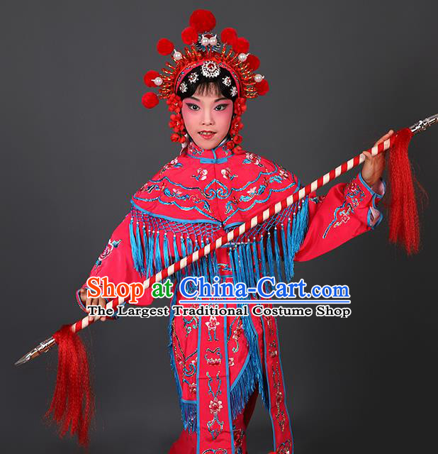 Chinese Traditional Peking Opera Blues Costumes Ancient Female Warriors Rosy Clothing for Kids