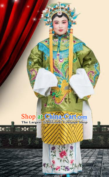 Chinese Traditional Peking Opera Pantaloon Costumes Ancient Countess Green Dress for Adults