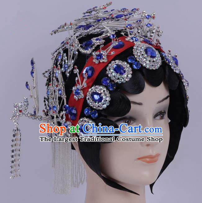 Chinese Traditional Peking Opera Diva Hair Accessories Ancient Princess Royalblue Crystal Hairpins for Women
