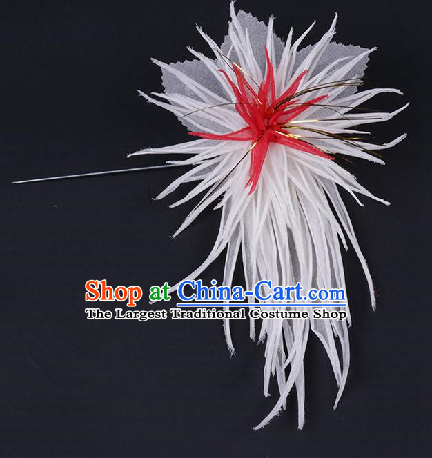 Chinese Traditional Peking Opera Hair Accessories Ancient White Chrysanthemum Hairpins for Women