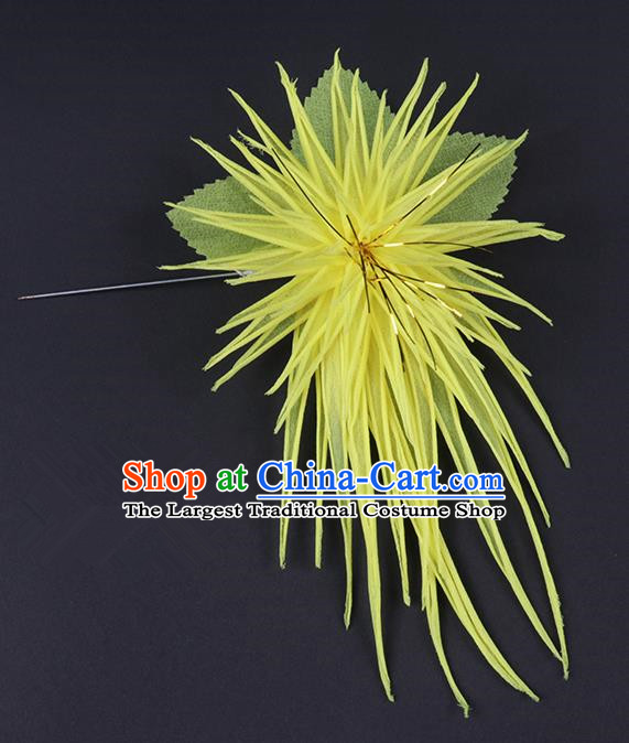 Chinese Traditional Peking Opera Hair Accessories Ancient Yellow Chrysanthemum Hairpins for Women