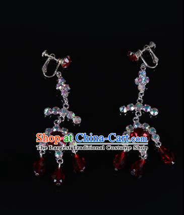 Chinese Traditional Peking Opera Jewelry Accessories Red Crystal Earrings for Women
