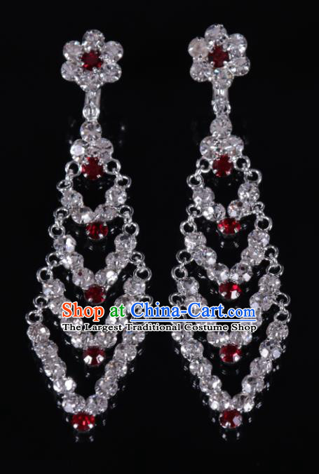 Chinese Traditional Peking Opera Diva Jewelry Accessories Red Crystal Earrings for Women