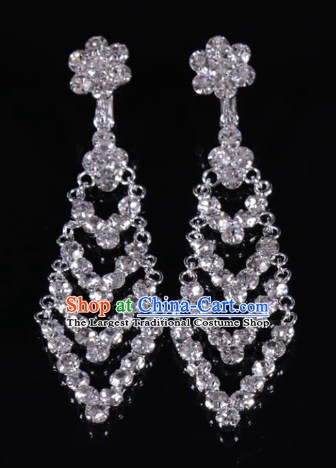 Chinese Traditional Peking Opera Diva Jewelry Accessories Crystal Earrings for Women