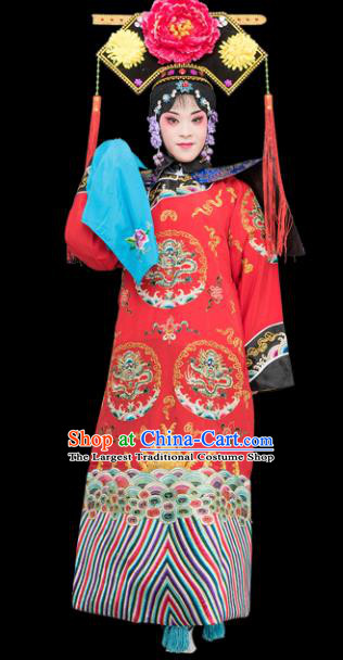 Chinese Traditional Peking Opera Diva Costumes Ancient Qing Dynasty Empress Red Dress for Adults