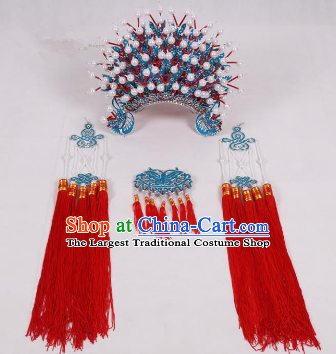 Chinese Traditional Peking Opera Actress Hat Ancient Bride Red Tassel Phoenix Coronet for Adults