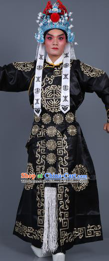 Chinese Traditional Peking Opera Takefu Costume Ancient Imperial Bodyguard Black Embroidered Robe for Adults