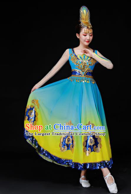 Chinese Traditional Uyghur Nationality Folk Dance Costumes Uigurian Dance Dress for Women