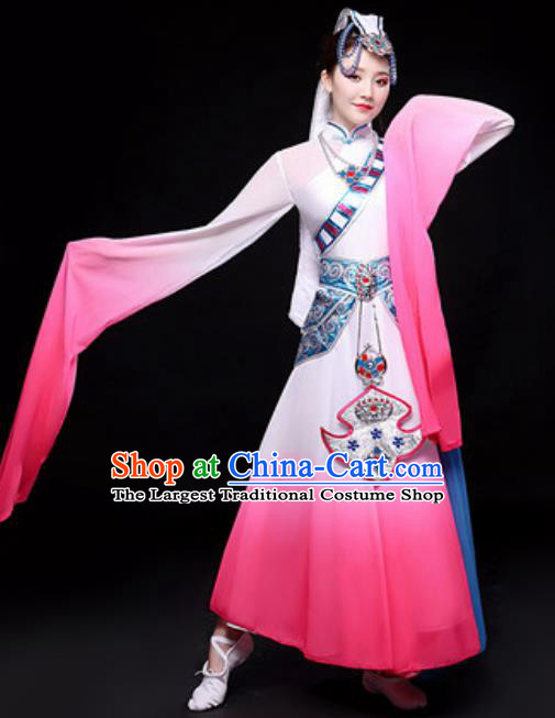 Chinese Traditional Mongol Nationality Folk Dance Costume Mongolian Minority Dance Pink Dress for Women