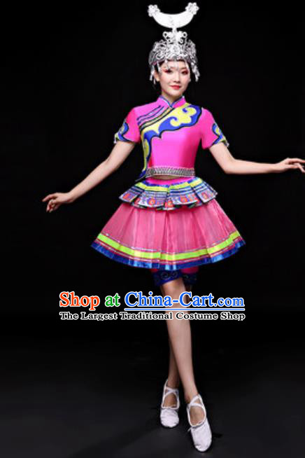 Chinese Traditional Miao Nationality Folk Dance Costume Hmong Minority Dance Rosy Dress for Women