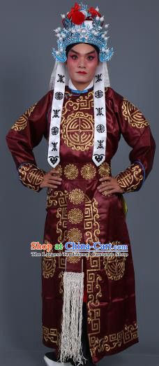 Chinese Traditional Peking Opera Takefu Costume Ancient Imperial Bodyguard Purplish Red Embroidered Robe for Adults