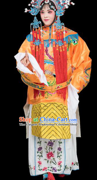Chinese Traditional Peking Opera Diva Costumes Ancient Imperial Consort Yellow Dress for Adults