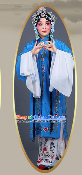 Chinese Traditional Beijing Opera Actress Costumes Ancient Nobility Lady Deep Blue Dress for Adults