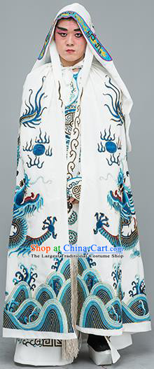 Chinese Traditional Peking Opera Takefu Costume Ancient Changing Faces White Cloak for Adults