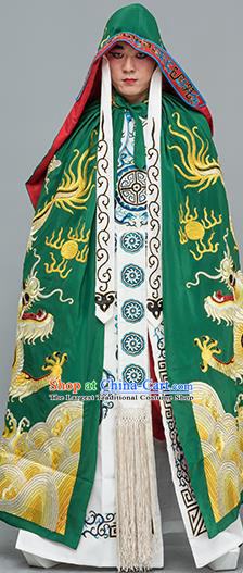 Chinese Traditional Peking Opera Takefu Costume Ancient Changing Faces Green Cloak for Adults