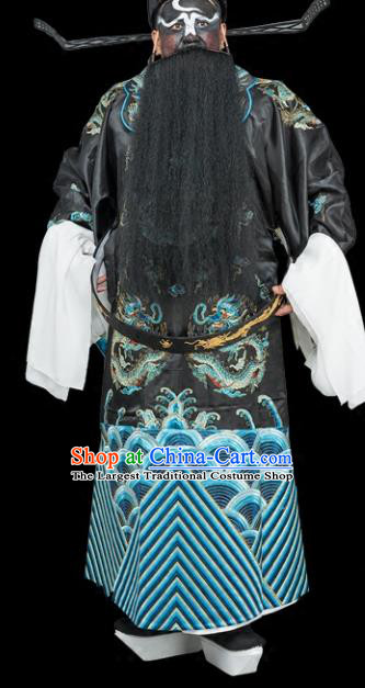 Chinese Traditional Peking Opera Chancellor Costume Ancient Bao Zheng Embroidered Robe for Adults