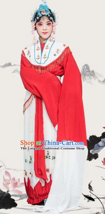 Chinese Traditional Peking Opera Diva Costumes Ancient Nobility Lady Red Dress for Adults