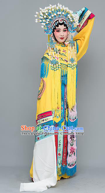 Chinese Traditional Peking Opera Imperial Consort Yellow Costumes Ancient Palace Lady Dress for Adults
