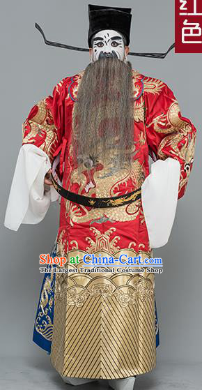 Chinese Traditional Peking Opera Prime Minister Costume Ancient Red Embroidered Robe for Adults