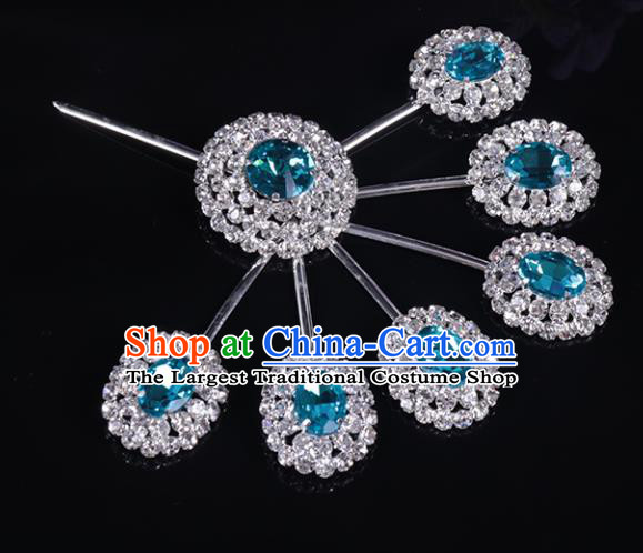 Chinese Traditional Peking Opera Diva Hair Accessories Blue Crystal Hairpins for Women