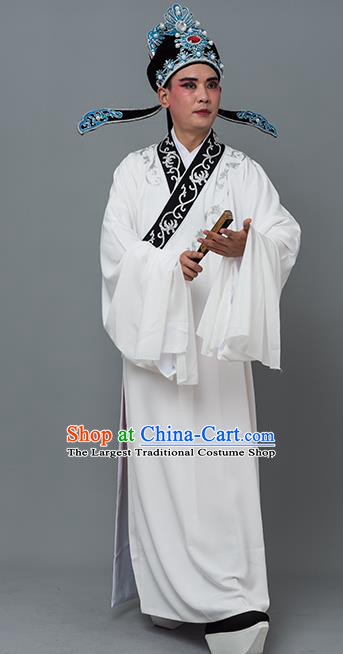 Chinese Traditional Peking Opera Niche Costume Ancient Gifted Scholar White Robe for Adults