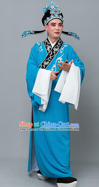 Chinese Traditional Peking Opera Niche Costume Ancient Gifted Scholar Sky Blue Robe for Adults