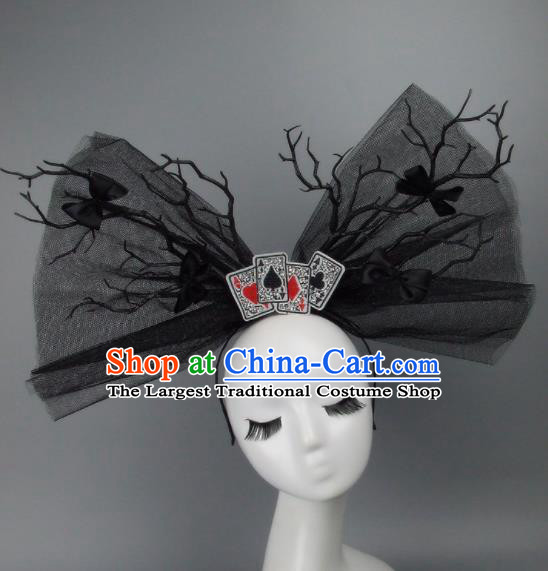 Top Grade Handmade Halloween Cosplay Hair Accessories Bride Black Veil Hair Clasp Headwear for Women