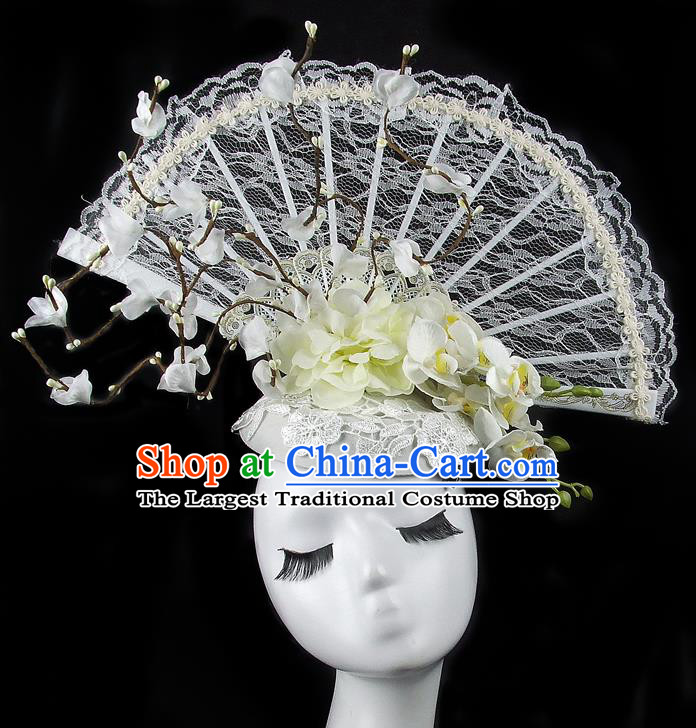 Handmade Halloween Cosplay Hair Accessories Chinese Stage Performance White Lace Hair Clasp Headwear for Women
