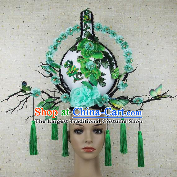 Handmade Halloween Green Peony Vase Hair Accessories Chinese Stage Performance Hair Clasp Headdress for Women