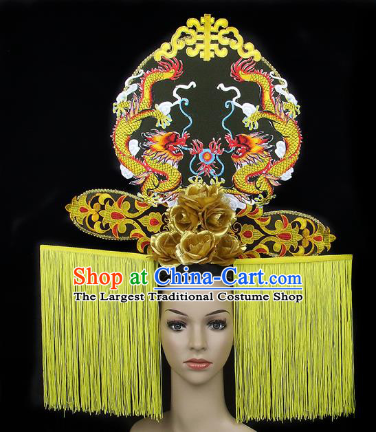 Handmade Halloween Golden Dragons Hair Accessories Chinese Stage Performance Hair Clasp Headdress for Women