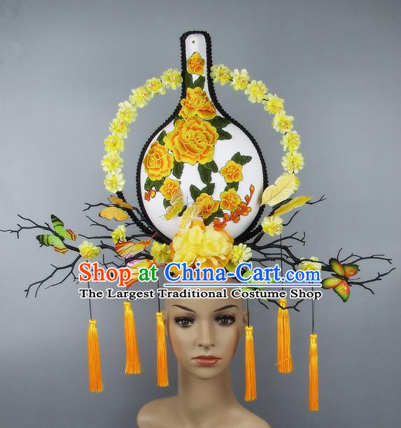 Handmade Halloween Yellow Peony Vase Hair Accessories Chinese Stage Performance Hair Clasp Headdress for Women