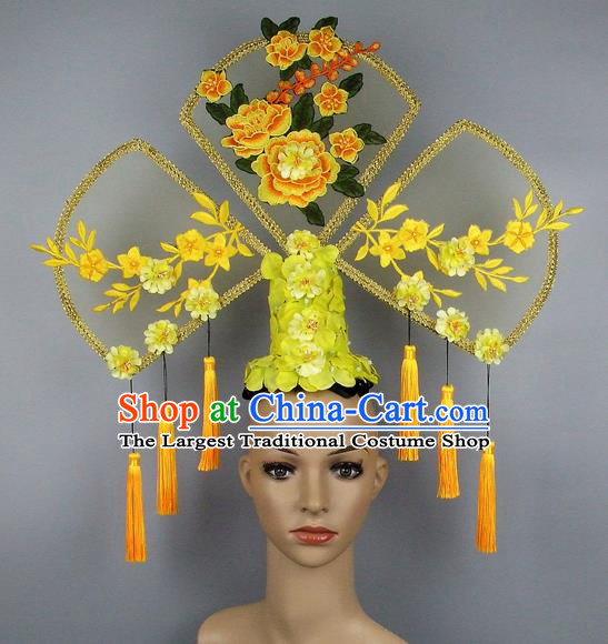 Handmade Halloween Queen Peony Hair Accessories Chinese Stage Performance Hair Clasp Headdress for Women