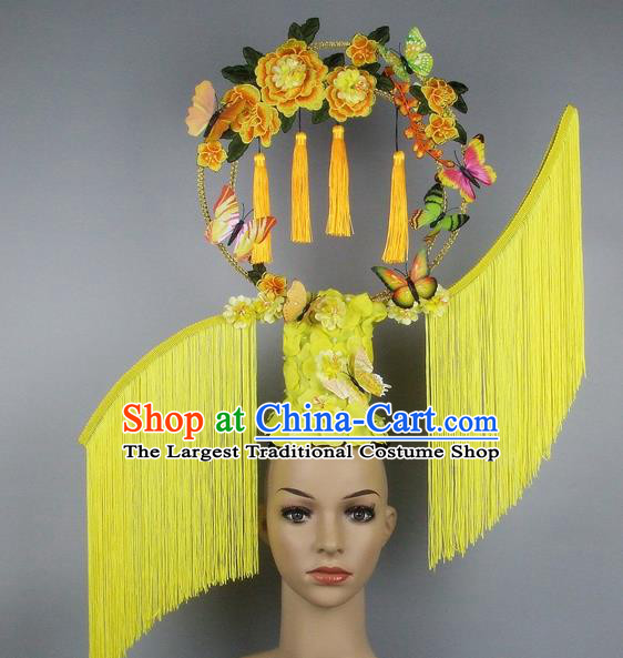 Handmade Halloween Queen Yellow Tassel Hair Accessories Chinese Stage Performance Hair Clasp Headdress for Women