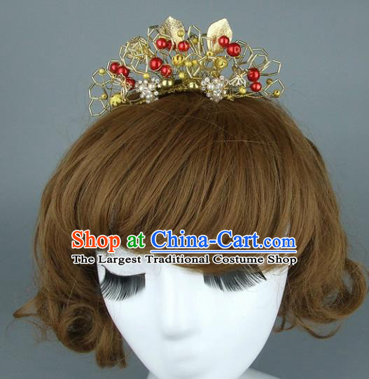 Top Grade Chinese Handmade Golden Leaf Hair Comb Traditional Wedding Hair Accessories for Women