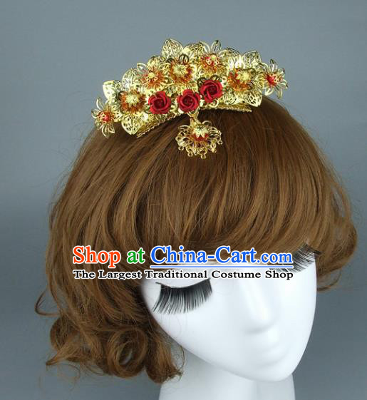 Top Grade Chinese Handmade Golden Hair Comb Traditional Bride Hair Accessories for Women