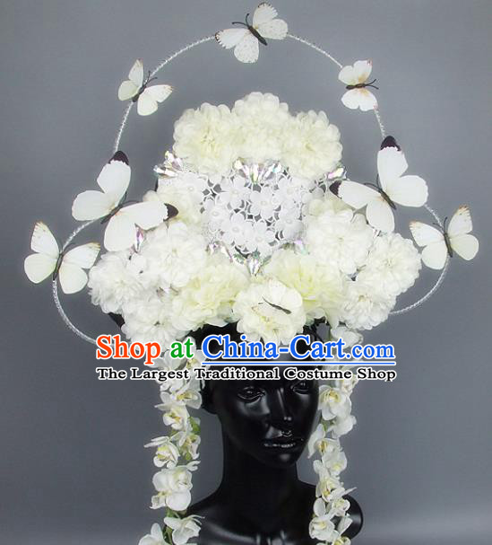Handmade Halloween Cosplay White Flowers Butterfly Hair Accessories Chinese Stage Performance Hair Clasp Headdress for Women