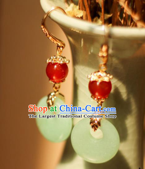Traditional Chinese Handmade Ancient Jade Earrings Accessories for Women