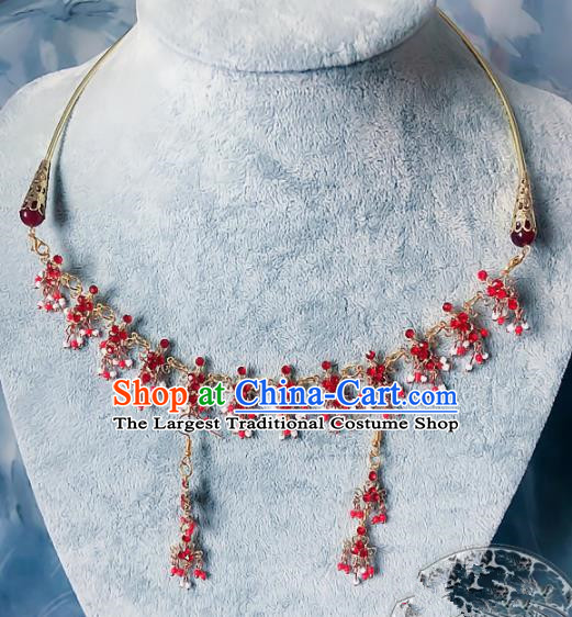 Chinese Traditional Handmade Hanfu Red Crystal Necklace Ancient Queen Necklet for Women