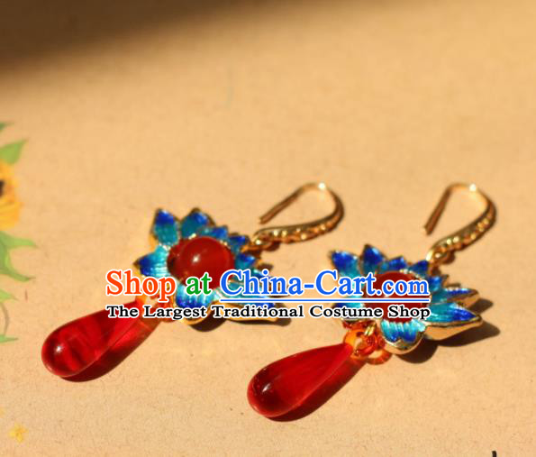 Traditional Chinese Handmade Ancient Blueing Lotus Earrings Accessories for Women
