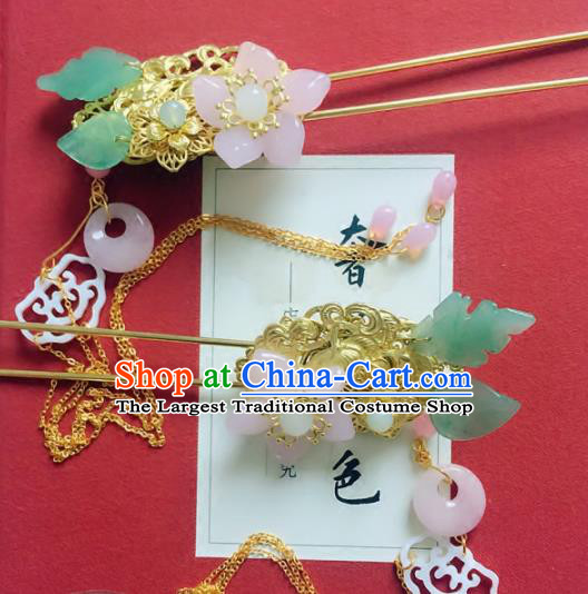 Handmade Chinese Ancient Hair Accessories Hanfu Pink Flower Hairpins for Women