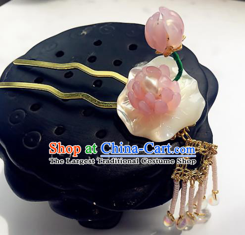 Handmade Chinese Ancient Shell Hair Accessories Hanfu Lotus Hairpins for Women