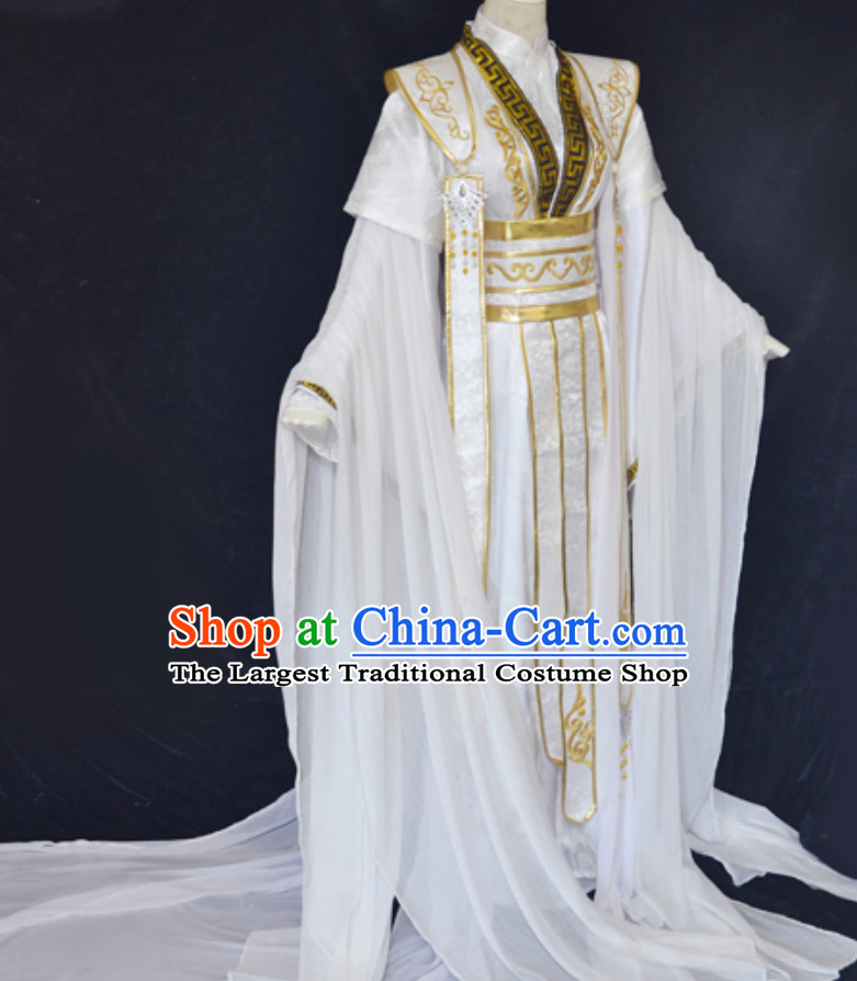 White Gold Ancient Chinese Super Hero Emperor Costume for Men